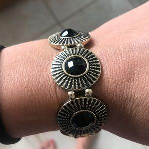 The LOFT Black & Gold Plated Stretchy Bracelet